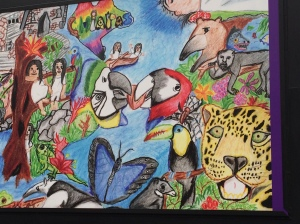 Image: Poster of child's drawing displayed on the Paseo de la Reforma, Chapultepec, Park, Mexico City