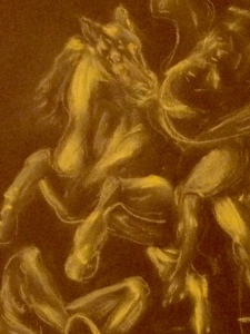 "Illustration: Conte crayon by Black Elephant Blog author modeled upon ""Rider and Fallen Foe"" by Titian"