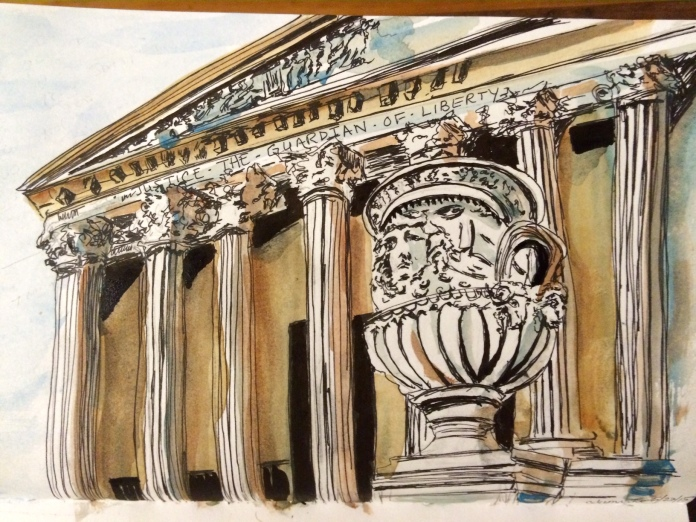 Illustration:  Watercolor and pen and ink by Black Elephant Blog author