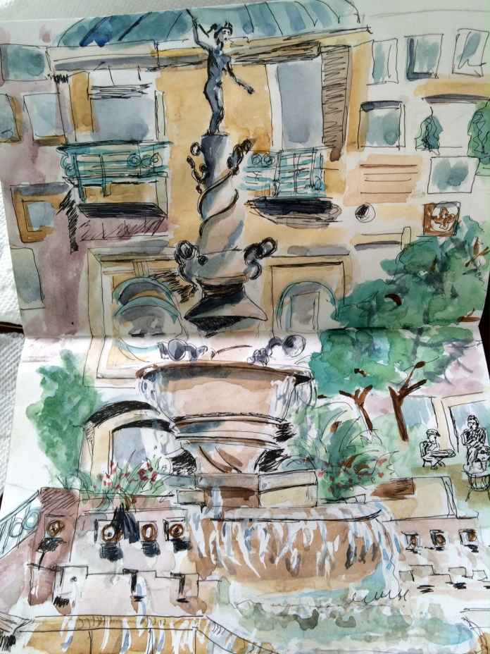 Illustration:  On-site sketch with pen and ink and watercolor by Black Elephant Blog author