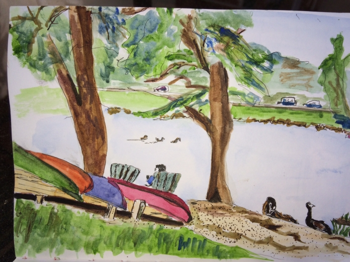 Illustration:  On-site sketch in pen and ink and watercolor by Black Elephant Blog author