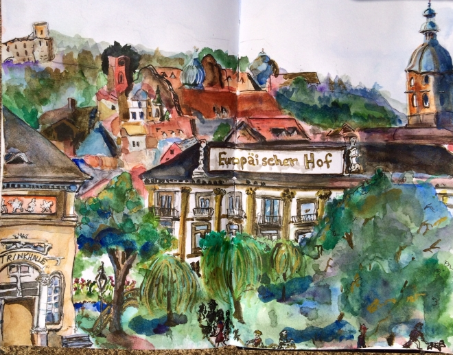 Illustration:  Watercolor, ink wash, Faber & Castell gold Pitt artist's pen, and Gelly Roll white pen (view from a park in Baden-Baden)