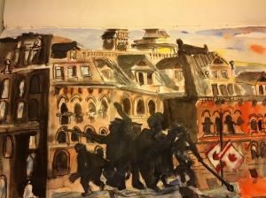 Illustration: Watercolor and pen and ink of the War of 1812 Monument at sunset in downtown Ottawa by Black Elephant Blog author