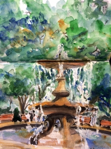 Illustration: Watercolor, pen and ink, and gouache depicting fountain in Confederation Park in downtown Ottawa by Black Elephant Blog author