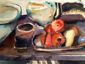 Illustration: Still-life workshop exercise by Black Elephant Blog author after a painting by Cezanne