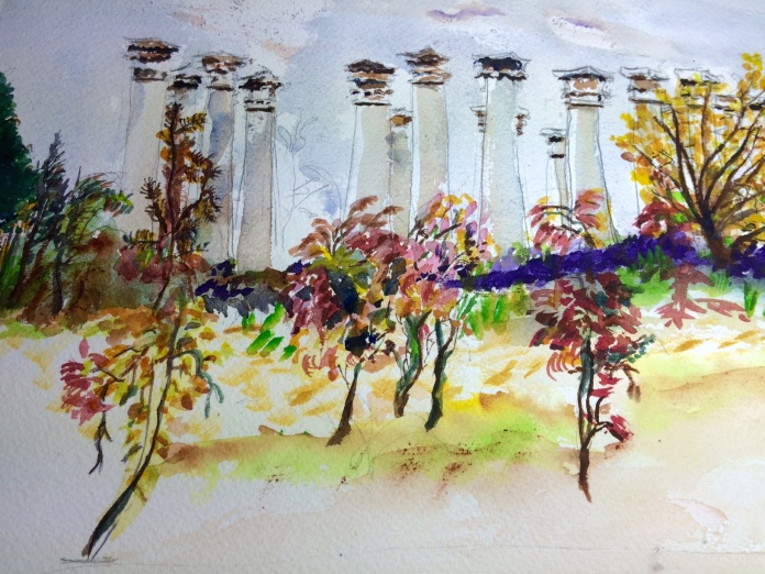 Illustration:  Watercolor and Micron pen sketch of the columns at the National Arboretum, Washington, D.C. by Black Elephant Blog author