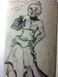 Illustration: Pencil and ink sketch of a