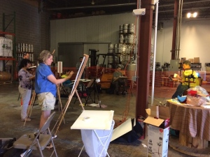 Illustrations: Artists at work in the back of a brewery