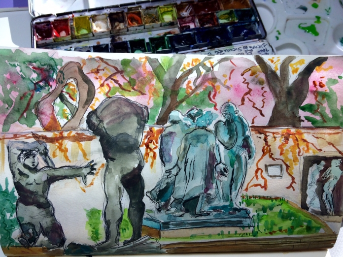 Illustration: Watercolor and Platinum Carbon ink sketch in Stillman & Birn Alpha Series Sketchbook at Hirschhorn Sculpture Garden, Washington, D.C.