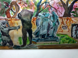 Illustration: Touched up watercolor sketch of the Burghers of Calais