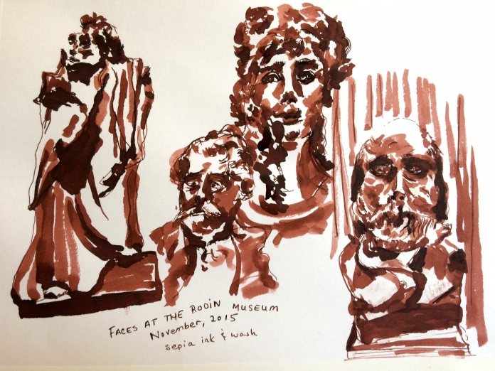 Illustration: Ink wash sketch in Higgins Sepia Calligraphy non-waterproof ink on Stillman & Birn Alpha series paper