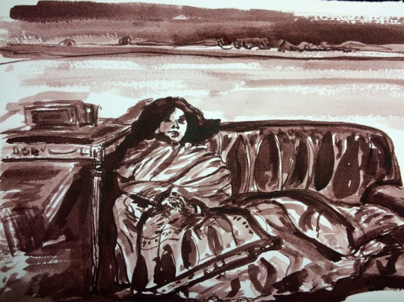"Illustration:  Bistre ink wash and pen (Rohrers Ausziehrusche Bister) sketch of John Singer Sargent's oil painting known as ""Repose"" in the National Gallery of Art, Washington, D.C."