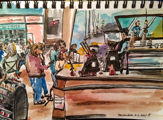 "Illustration:  Watercolor and Platinum Carbon pen and ink in Stillman & Birn ""Beta Series"" sketchbook by Black Elephant Blog author"