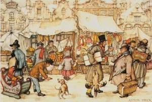 "Illustration:  Graphic of ""Christmas market"" by Anton Pieck (Source: Wikipedia)"