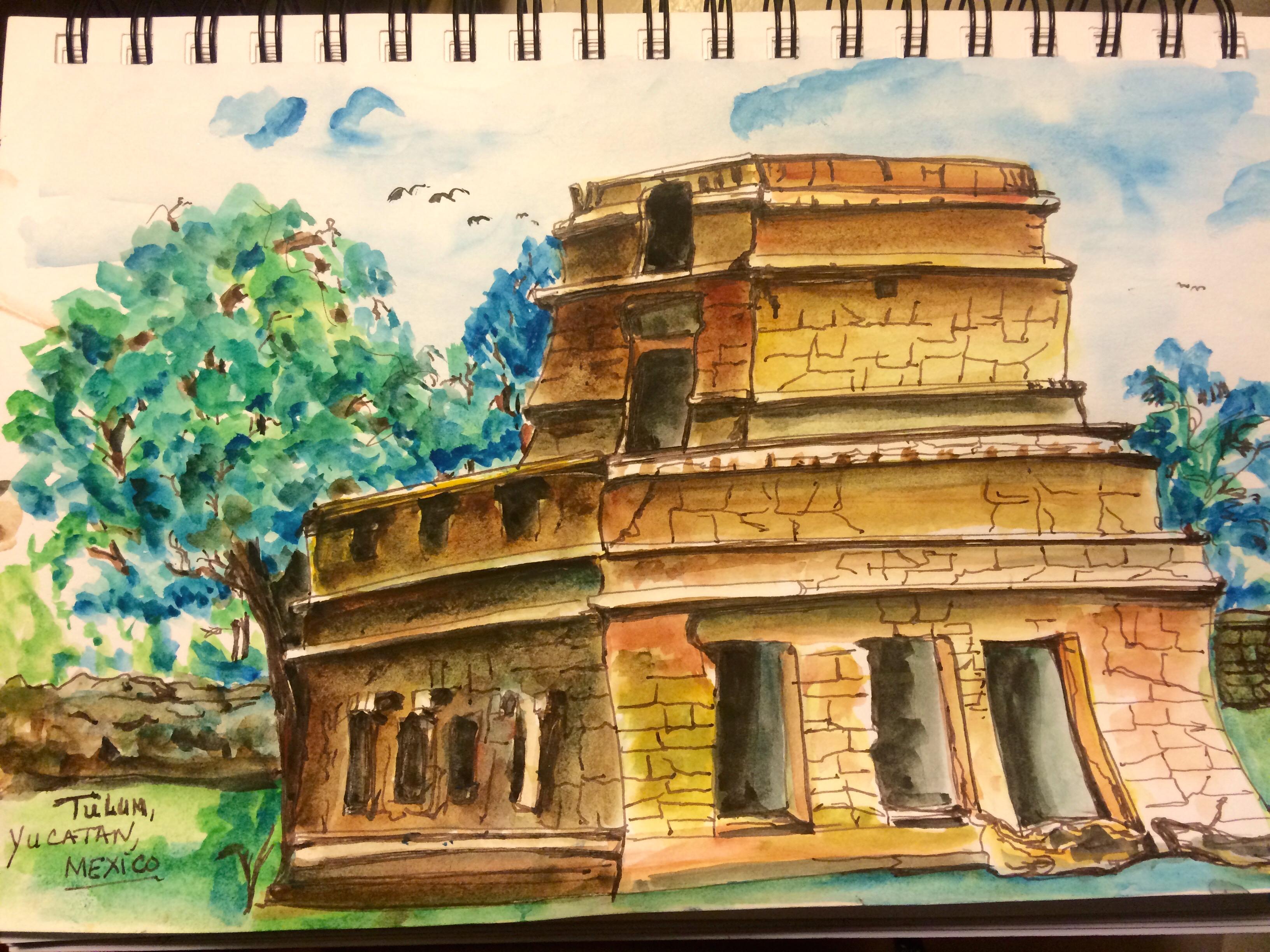 Tulum watercolor sketch