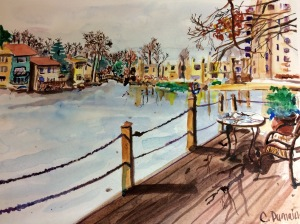 """Illustration:  Watercolor and pen and ink study for """"Waiting for Spring"""" by Black Elephant Blog author"""