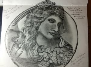 Illustration:  Pencil sketch of bronze medallion with the bust of Athena (c. 150 B.C) by Black Elephant Blog author