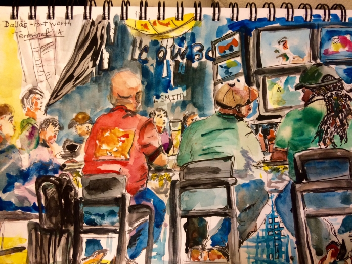 "Illustration:  Watercolor and pen and ink sketch, ""Heading Home,""  in Stillman & Birn sketchbook by Black Elephant Blog author"