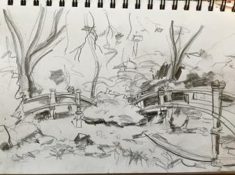 Illustration:  Value study sketch (Hillwood Mansion grounds) by Black Elephant Blog author