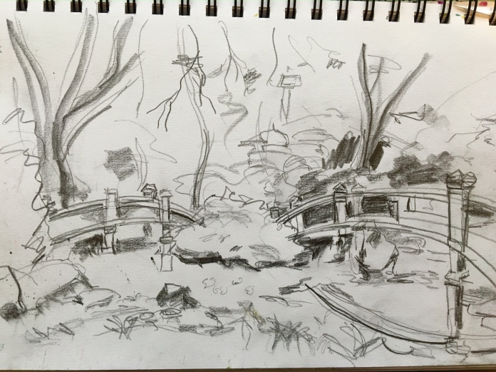 Illustration:  Value study sketch (Hillwood Mansion grounds) by Black Elephant Blog author
