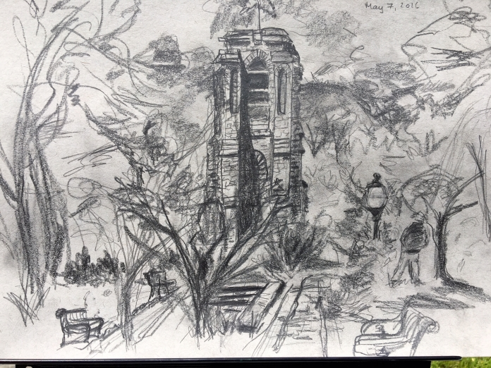 Illustration:  Pencil sketch of Bell Tower in Baker Park, Frederick , Maryland by Black Elephant Blog author