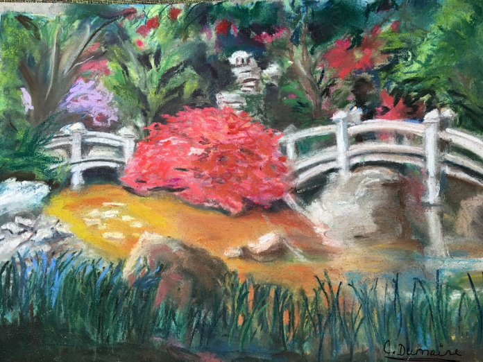 "Illustration:  Pastel sketch, ""Japanese Garden at the Hillwood Estates, Washington, D.C.""  by Black Elephant author"