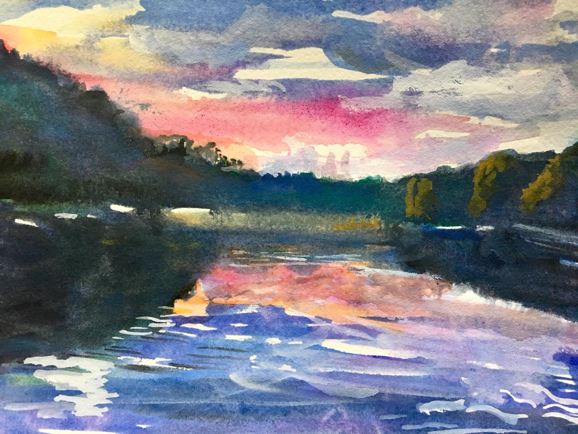 Gouache lake scene